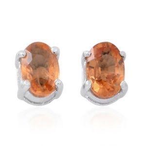 Genuine Light Orange Sapphire Sterling Silver Stud
